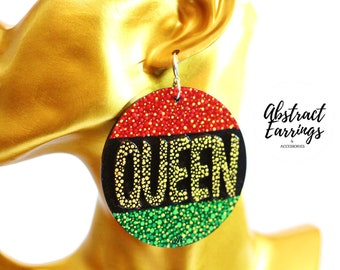 Unique Queen Word Earrings - Handcrafted Hand Painted Wood Earrings - Pan African RBG Earrings - Gift For Afrocentric Mom Wife Women - SALE