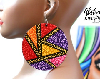 Abstract Art Earrings Jumbo Size Color Block Design Extra Large Hand Painted Lightweight Wooden Earrings with Pointillism Art Gift for Her