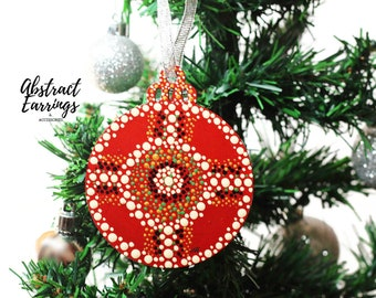 Red Pinwheel Mandala Tree Ornament - Handmade Wooden Flat Ornaments - Unique Kwanzaa Gift - Hand Painted Afrocentric Ornament Decoration