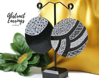Abstract Statement Earrings Black White Gray - Hand Painted Wood Earrings - Large Bold Geometric Dangles - Unique One of a Kind  Art Earring