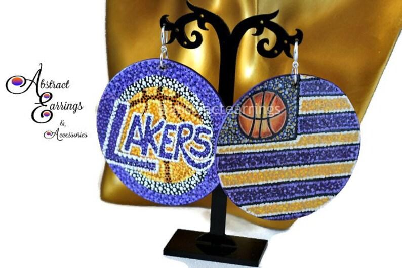 Los Angeles Lakers Earrings Laker Nation Basketball Earrings Lakers Fan  Gifts Lakers Women Lebron James 23 King James NBA Sports Earrings 448a2dded