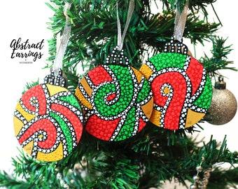 3 Afrocentric Ornament Set, Flat Wooden Handmade Ornaments, Hand Painted Tree Ornaments, African Diaspora Kwanzaa Gift, Etsy Best Seller