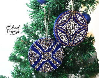 Ultramarine Blue Ornament Set of 2 Flat Christmas Tree Bulbs, Unique Statement Dot Ornaments, Holiday Winter Solstice Decoration Boxed Gift