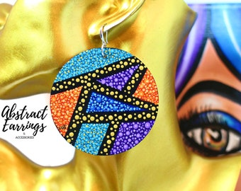 Geometric Abstract Art Earrings Colorful - Extra Large Dangles Hand Painted Lightweight Wooden Earrings - Modern One of a Kind Wearable Art