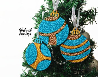 Turquoise Statement Ornament 3, Wooden Hand Painted Ornament, Afrocentric Ornaments, for Holiday Christmas Tree or Unique Kwanzaa Boxed Gift