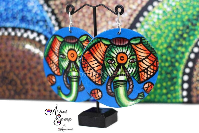Painted Elephant Earrings