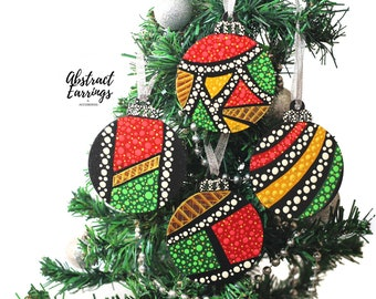 4 Afrocentric Ornament Set, Flat Wooden Hand Painted Kwanzaa Decoration, African Tree Ornament Set, Unique One of a Kind Holiday Gifts