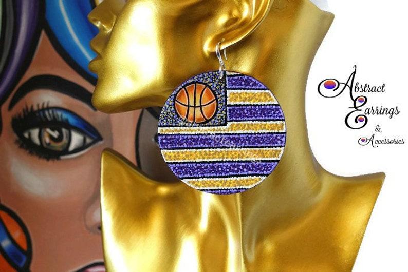 Los Angeles Lakers Earrings Laker Nation Basketball Earrings  3c6e30911