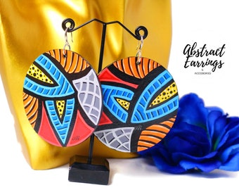 Bold Colorful Abstract Earrings - Oversized Dangles Hand Painted Lightweight Wooden Jewelry Sterling Silver Hooks One of a Kind Wearable Art