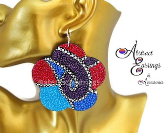Clearance Large Colorful Abstract Earrings - Hand Painted One of a Kind - Unique Bold Statement Dangles - Artistic Pointillism Dotted Art