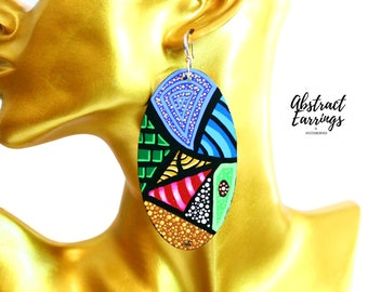 Long Abstract Patchwork Earrings, Hand Painted Oval Afrocentric Earrings, Colorful Original Art Aesthetic, Big Bold Funky Statement Dangles