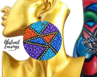 Colorful Abstract Geometric Earrings - Large Hand Painted Earrings - Wooden Tribal Boho Earrings - Pointillism Dot Art - Aesthetic Earrings