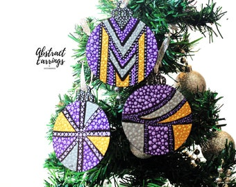Purple Statement Ornament 3 Set, Flat Wooden Handmade Afrocentric Decoration for Holiday Christmas Tree Winter Solstice Kwanzaa Boxed Gift