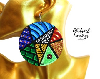 Abstract Afrocentric Patchwork Earrings, Hand Painted African Print Earrings, Colorful Original Art Aesthetic, Bold Funky Statement Dangles
