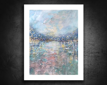 Painting on Paper, Small Painting, Abstract Landscape, 9 x 12, Lake Painting, Palette Knife Painting, Blue & Pink Sky