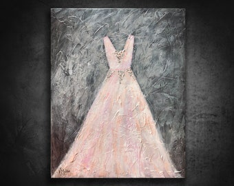 Dress Painting, Original Art, Fashion art, Pink Dress, Fashion decor, Pink wedding dress, Girl's room, Gown painting, Silver, room decor