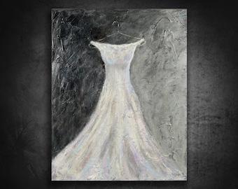 Dress Painting, Original Art, Fashion art, White Dress, Fashion decor, Wedding dress, Girl's room, Gown painting, Silver, room decor