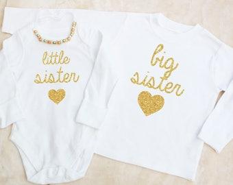 Little Sister & Big Sister Matching Bodysuit and T-Shirt Set