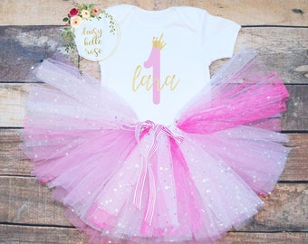 Baby Girls 1st Birthday Outfit Princess First Dress Tutu Skirt Set Pink Age 1 UK