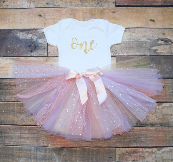 20950fafba0 One 1st First Birthday Baby Girls Outfit Set Pastel Peach