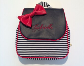 4d5e88de38 Nursery  maternelle school backpack sailor  marin  matelot  marine school  bow gift   boy. French manufacturing