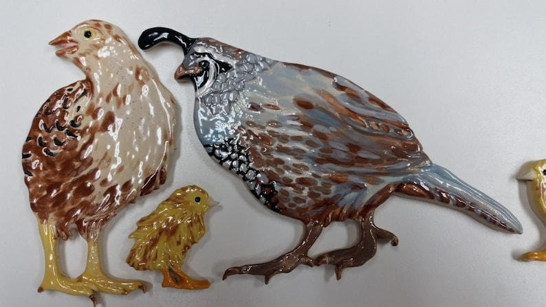 Mom Dad And 3 Baby Quail For Mosaics Price Is Per Set Etsy