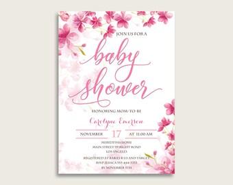 Blossom baby shower invitations etsy cherry blossom baby shower invitations printable digital or printed invitation baby shower girl editable invitation pink white most 5mq8w filmwisefo