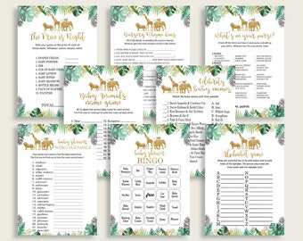 Baby Shower Games Pack Printable Baby Shower Games Bundle Greenery Baby Shower Games Set Instant Download Baby Shower Activities DIYGGR