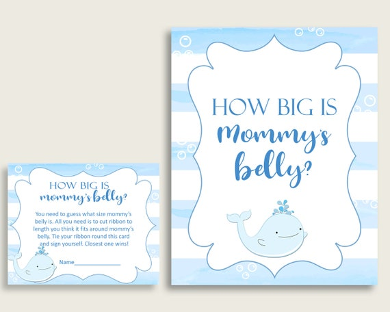 Blue White How Big Is Mommy S Belly Game Whale Baby Shower Boy