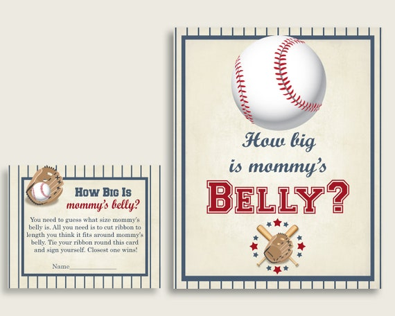 Blue Beige How Big Is Mommys Belly Game Baseball Baby Shower Boy