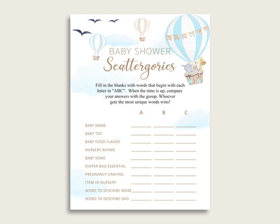 image regarding Printable Scattergories identify Scattergories Boy or girl Shower Warm Air Balloon Topic, Blue White
