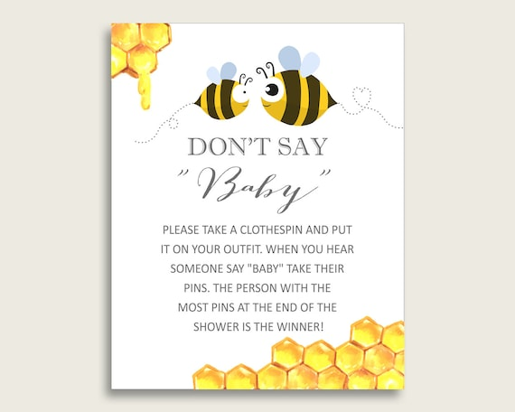 Yellow White Don T Say Baby Printable Game Gender Neutral Baby