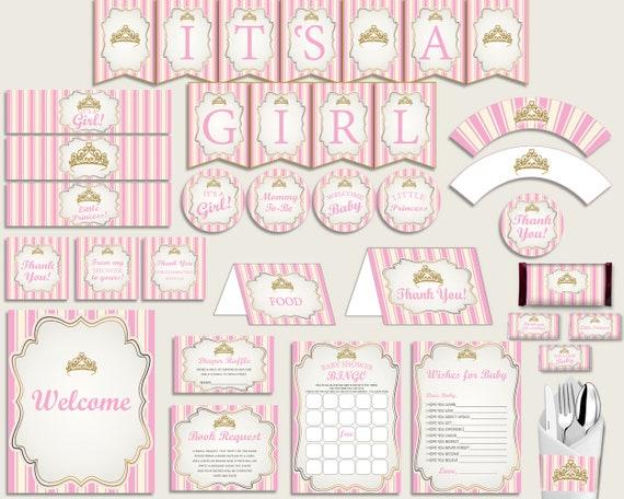 Pink Gold Baby Shower Decorations Girl Kit Royal Princess Baby