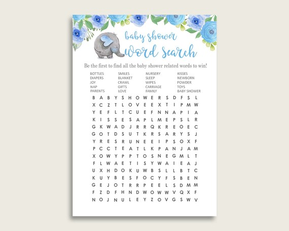 Elephant Blue Word Search Game, Blue Gray Baby Shower Word