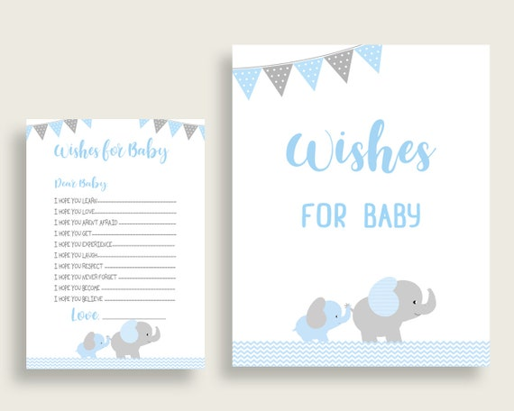 Blue Grey Wishes For Baby Cards Sign Elephant Baby Shower Boy