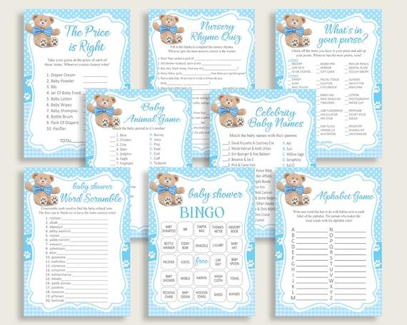 Teddy Bear Baby Shower Games Printable Pack, Blue Brown Baby Shower Games  Package Boy, Teddy Bear Games Bundle Set, Instant Download, tb001