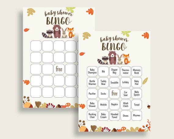 Woodland Baby Shower Bingo Cards Printable Brown Beige Baby Shower