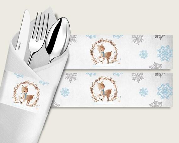 9ce99f3af221 Winter Deer Baby Shower Napkin Rings Printable Gray Blue