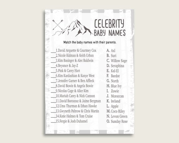 Gray White Celebrity Baby Names, Adventure Mountain Baby Shower Boy Name  Game Printable, Celebrity Match Game, Famous Babies Game S67CJ by Creative  Digital Arts | Catch My Party