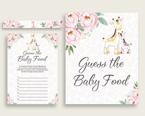 image relating to Baby Food Game Printable identify Crimson Yellow Giraffe Bet The Boy or girl Meals Match Printable, Female