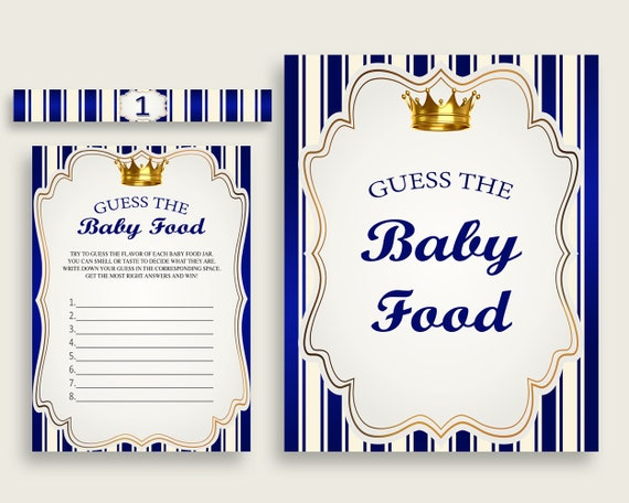 photo regarding Baby Food Game Printable referred to as Blue Gold Royal Prince Bet The Little one Meals Activity Printable