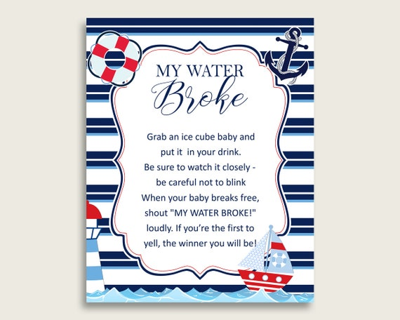 photo relating to Free Printable Nautical Baby Shower Games identified as Nautical Child Shower My H2o Broke Recreation Printable, Blue Pink