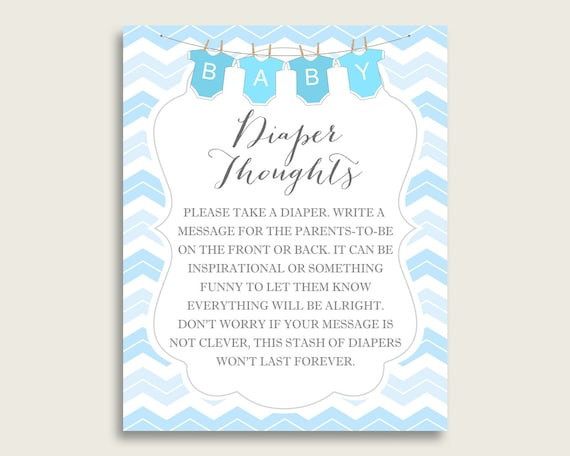 photo regarding Late Night Diaper Messages Free Printable identify Chevron Little one Shower Diaper Concerns Printable, Boy Blue