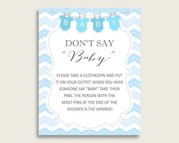 photograph regarding Don T Say Baby Printable named Blue White Dont Say Youngster Printable Activity, Boy Child Shower