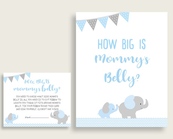 Blue Grey How Big Is Mommy S Belly Game Elephant Baby Etsy