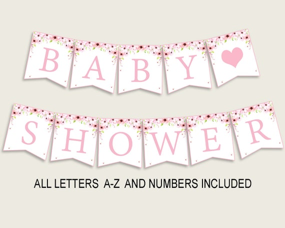 Flower Blush Baby Shower Banner All Letters Birthday Party Banner