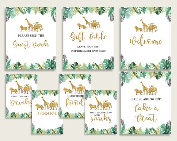 Jungle Baby Shower Gender Neutral Table Signs Printable Gold Green
