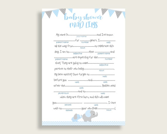 graphic regarding Printable Mad Libs for Teens named Blue Gray Nuts Libs Little one Shower Boy Recreation Printable, Elephant