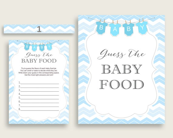 picture regarding Guess the Baby Food Game Printable called Blue White Chevron Bet The Kid Food stuff Match Printable, Boy