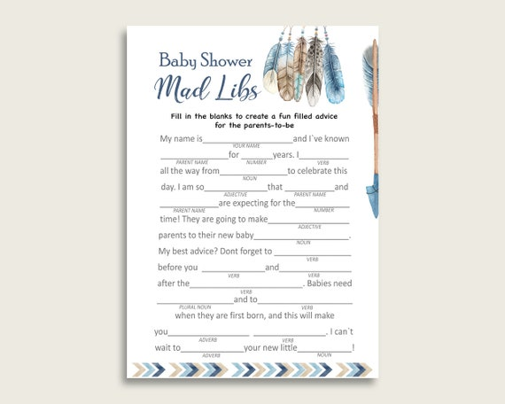 photograph relating to Printable Mad Libs for Teens known as Blue Beige Insane Libs Boy or girl Shower Boy Match Printable, Tribal